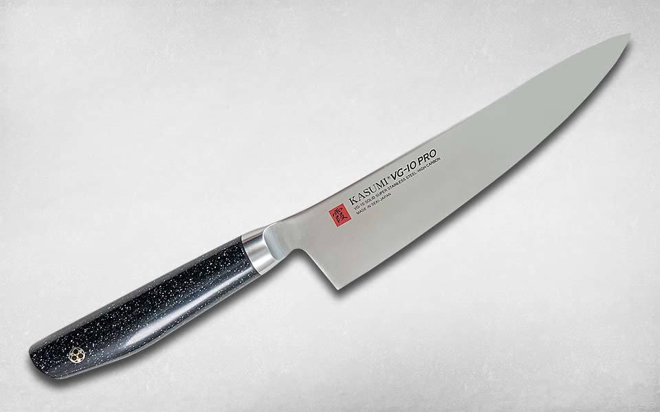 Нож кухонный Шеф VG10 PRO 200 мм, Kasumi, 58020, сталь VG-10, искусственный мрамор, чёрный