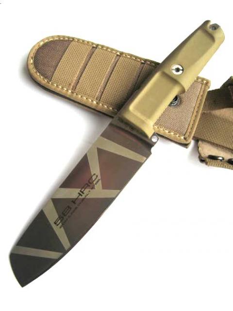 Полевой поварской нож Kato 15 Desert CamoПолевой поварской нож Kato 15 Desert Camo, клинок камуфляж коричневые полосы, сталь N690(58HRC), рукоять коричневый forprene, стеклобой, чехол нейлон.