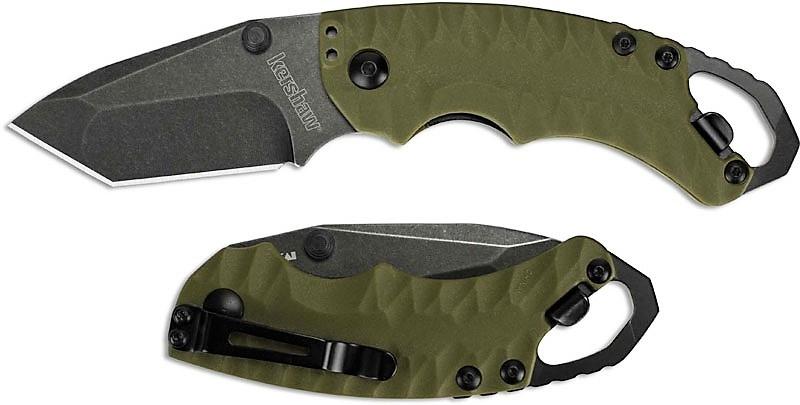 Фото 7 - Складной нож Shuffle II - KERSHAW 8750TOLBW, сталь 8Cr13MoV black-oxide BlackWash™, оливковая рукоять из пластика GFN