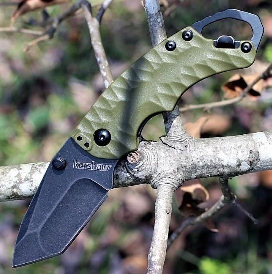 Фото 8 - Складной нож Shuffle II - KERSHAW 8750TOLBW, сталь 8Cr13MoV black-oxide BlackWash™, оливковая рукоять из пластика GFN