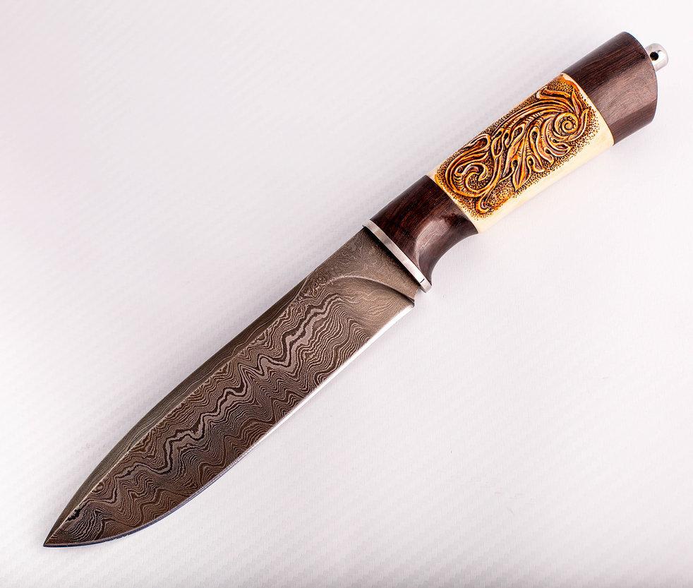 Авторский Нож из Дамаска №99, Кизляр авторский нож из дамаска 10 кизляр
