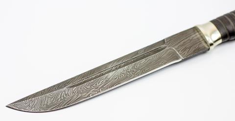Пластунский нож Казак, сталь дамаск, мельхиор. Вид 4