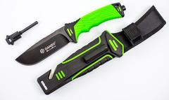 Нож для выживания с огнивом и точилкой Ganzo G8012, зеленый, фото 6