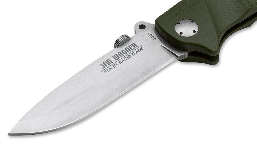 Фото 6 - Нож складной RBB (Reality-Based Blades) Bushcraft, Jim Wagner Design, Boker 01BO063, сталь 440C Satin, рукоять Zytel® (пластик), зелёный