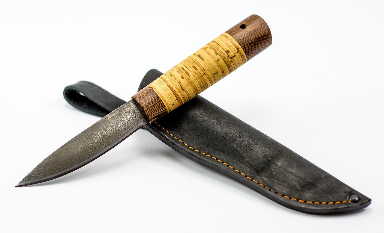 Нож Якутский средний, сталь дамаск, береста от Мастерская Сковородихина