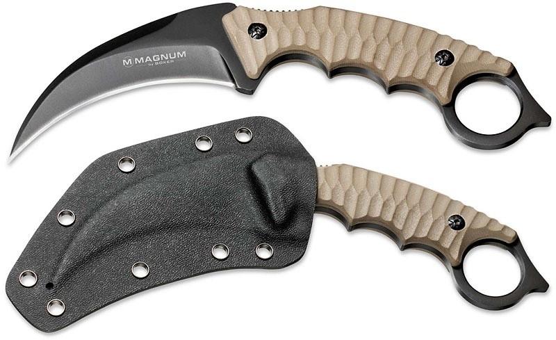 Фото 6 - Нож с фиксированным клинком Magnum Spike Karambit - Boker 02SC028, сталь 440A EDP, рукоять стеклотекстолит G10, песочный