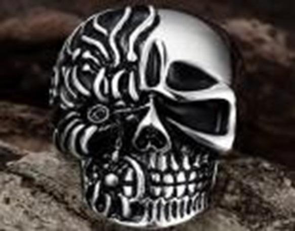 Фото - Кольцо ZIPPO, серебристое, в форме черепа, нержавеющая сталь, 2,3x3,3x0,5 см, диаметр 19,7 мм