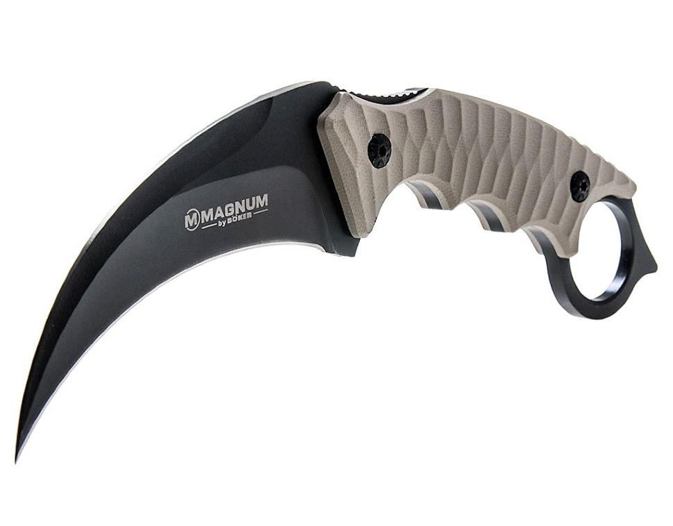 Фото 7 - Нож с фиксированным клинком Magnum Spike Karambit - Boker 02SC028, сталь 440A EDP, рукоять стеклотекстолит G10, песочный
