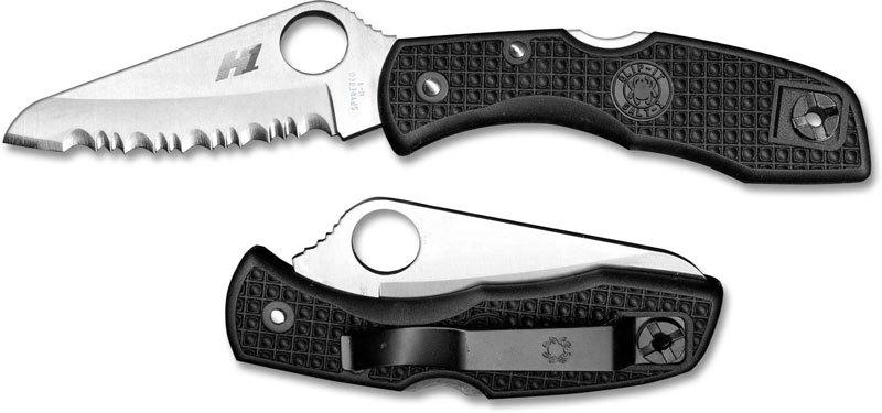 Фото 8 - Нож складной Salt 1 - Spyderco C88SBK, сталь H1 Satin Serrated, рукоять термопластик FRN, чёрный