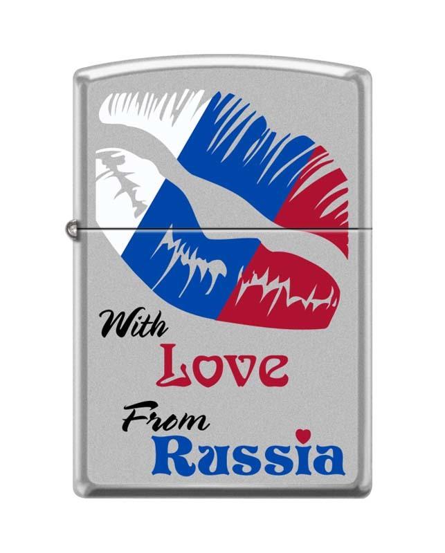 Зажигалка ZIPPO Из России с любовью, латунь/сталь с покрытием Satin Chrome, матовая, 36x12x56 мм