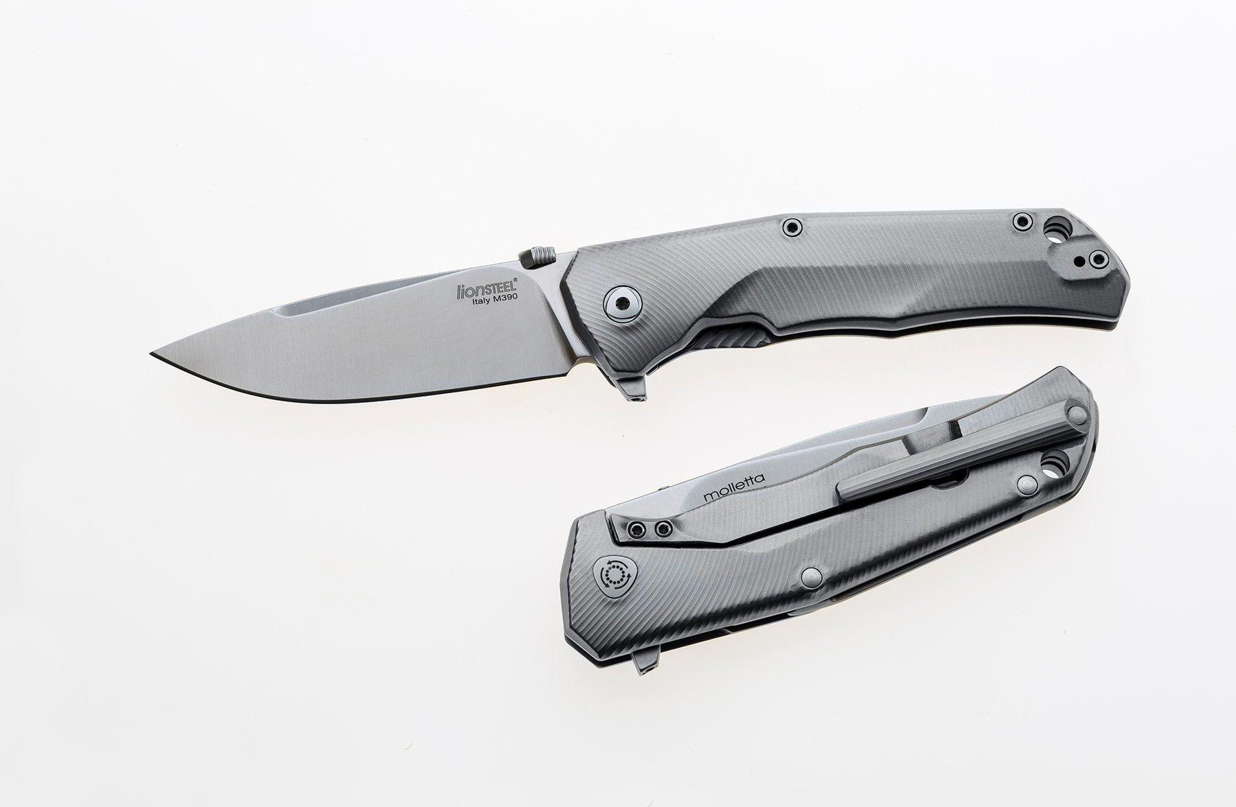 Фото 4 - Нож складной T.R.E. GY - Three Rapid Exchange (IKBS® Flipper), Matte Titanium Handles, Gray Accents от Lion Steel