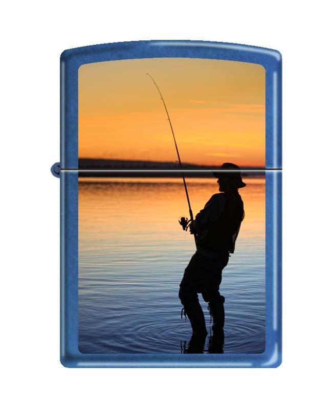 Зажигалка ZIPPO Вечерняя рыбалка, латунь/сталь с покрытием Sapphire™, синяя, глянцевая, 36x12x56 мм путешествие рыбалка 2016