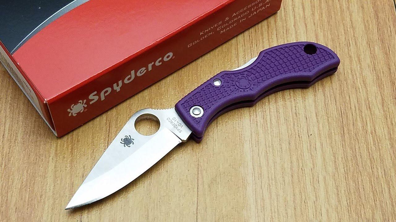 Фото 8 - Нож складной Ladybug 3 - Spyderco LPRP3, сталь VG-10 Satin Plain, рукоять термопластик FRN, фиолетовый
