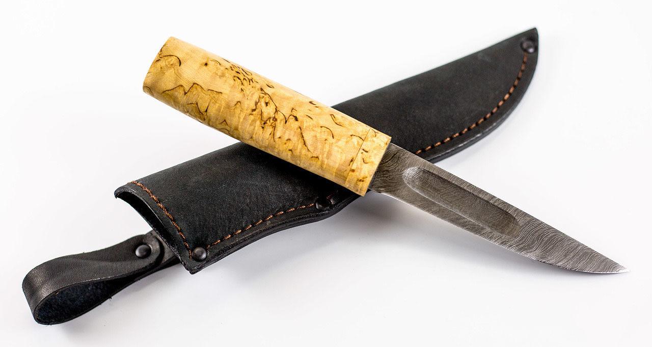 Нож Якутский малый, сталь дамаск, карельская береза от АТАКА