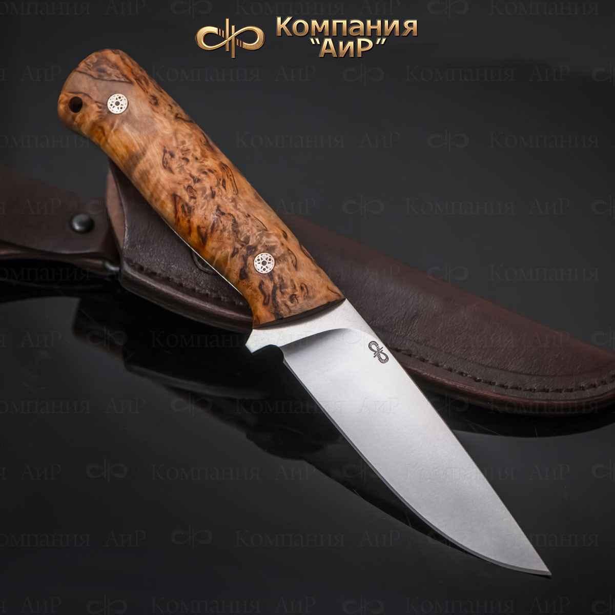 Нож разделочный АиР Стриж ЦМ, сталь М390, рукоять карельская береза нож разделочный стриж цм дерево 100х13м аир