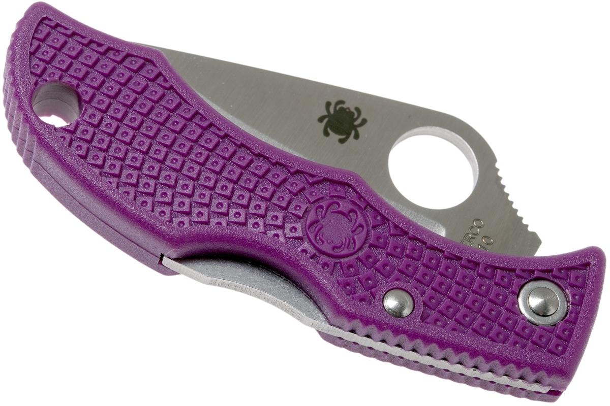 Фото 14 - Нож складной Ladybug 3 - Spyderco LPRP3, сталь VG-10 Satin Plain, рукоять термопластик FRN, фиолетовый