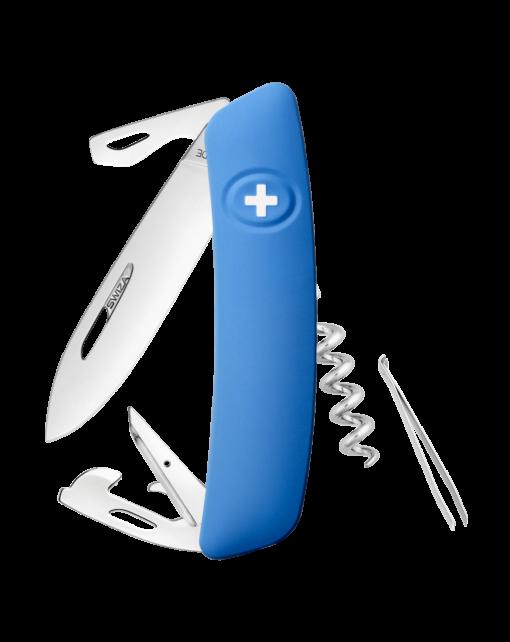 Швейцарский нож SWIZA D03 Standard, сталь 440, 95 мм, 11 функций, синий