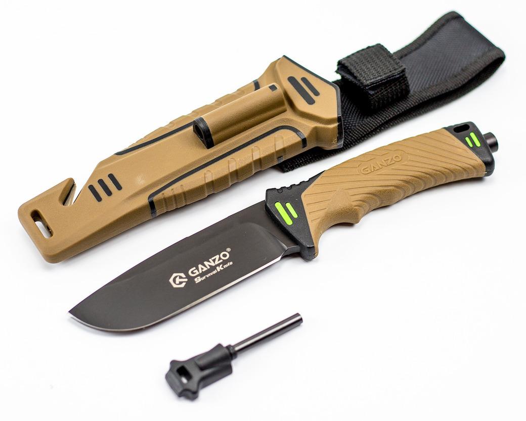 Нож для выживания Ganzo G8012, коричневый