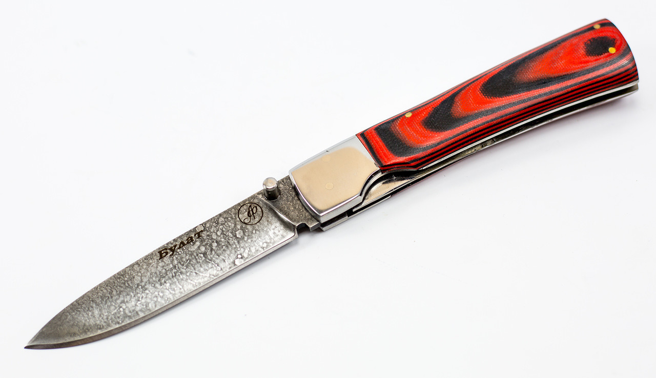 Нож складной Якут, литой булат Баранова, микарта