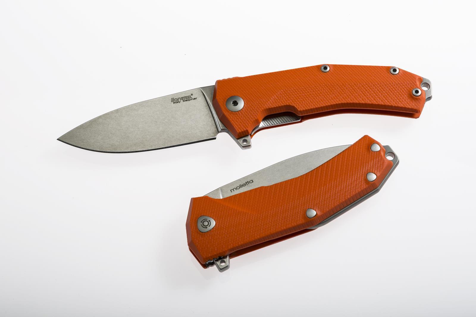 Фото 6 - Нож складной LionSteel KUR OR G10 Orange Flipper, сталь Uddeholm Sleipner®, стеклотекстолит, оранжевый от Lion Steel