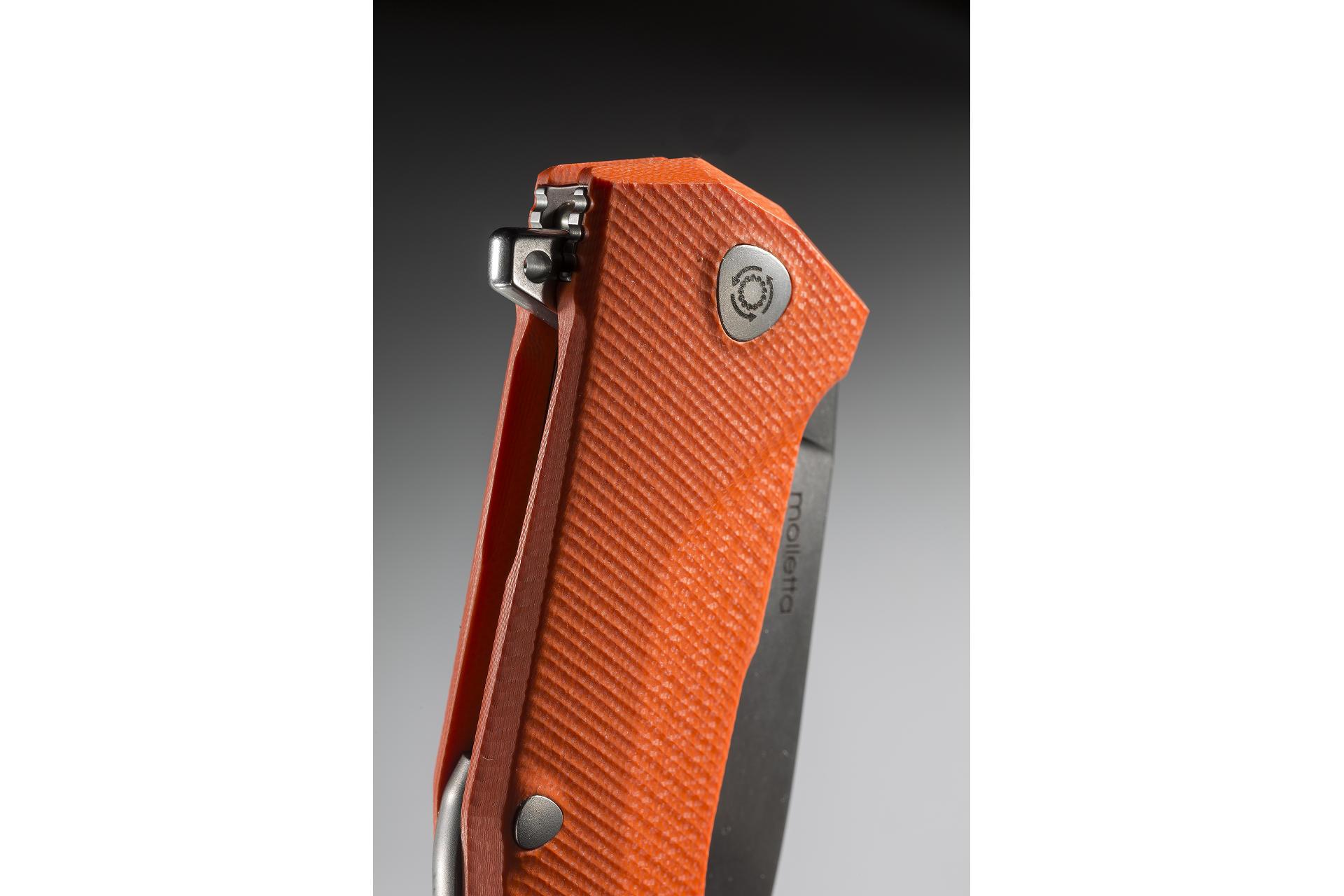 Фото 7 - Нож складной LionSteel KUR OR G10 Orange Flipper, сталь Uddeholm Sleipner®, стеклотекстолит, оранжевый от Lion Steel