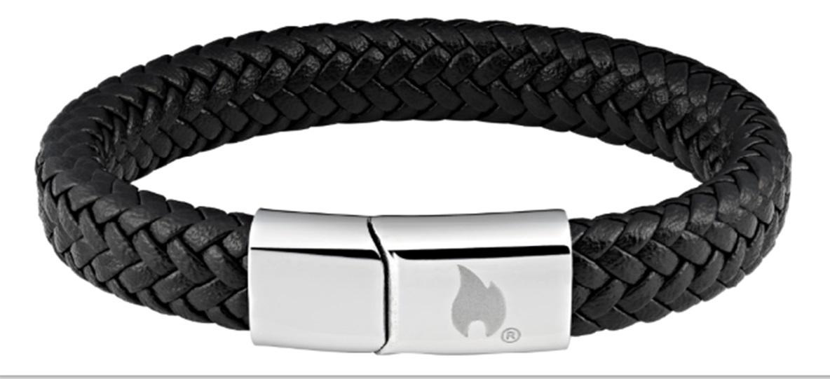 Фото - Браслет ZIPPO, чёрный, нержавеющая сталь/натуральная плетёная кожа, 22x1,20x0,80 см