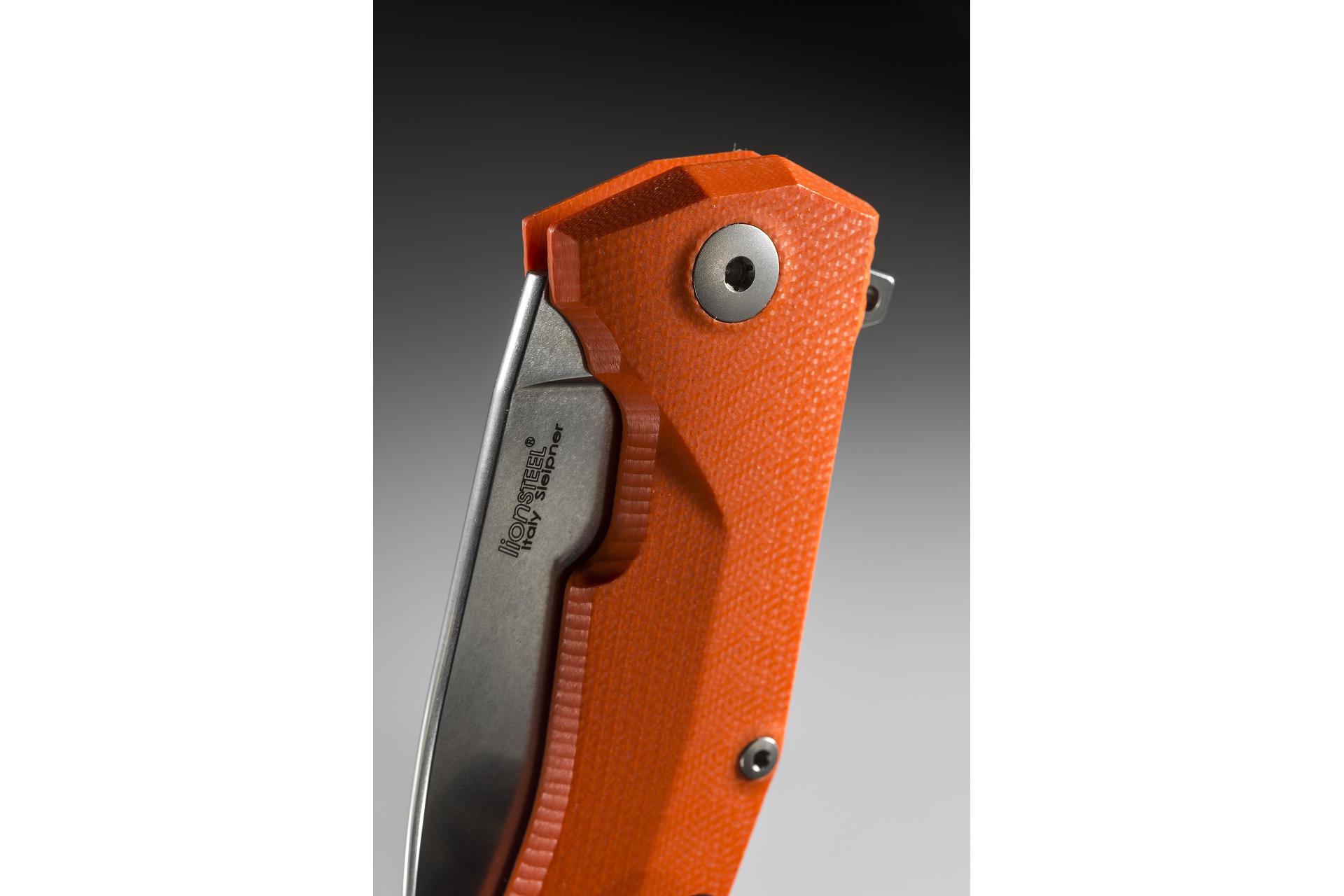 Фото 8 - Нож складной LionSteel KUR OR G10 Orange Flipper, сталь Uddeholm Sleipner®, стеклотекстолит, оранжевый от Lion Steel