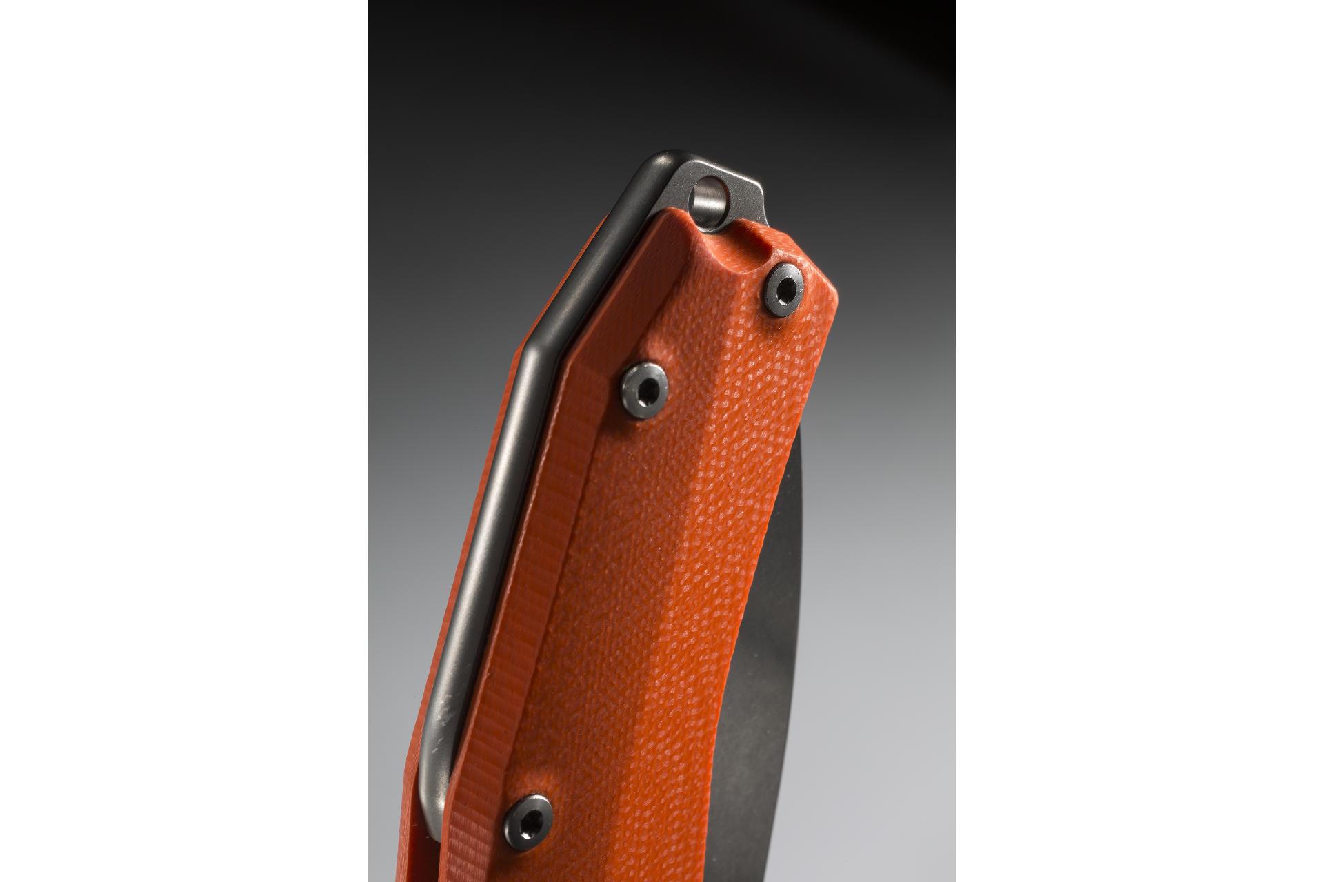 Фото 9 - Нож складной LionSteel KUR OR G10 Orange Flipper, сталь Uddeholm Sleipner®, стеклотекстолит, оранжевый от Lion Steel