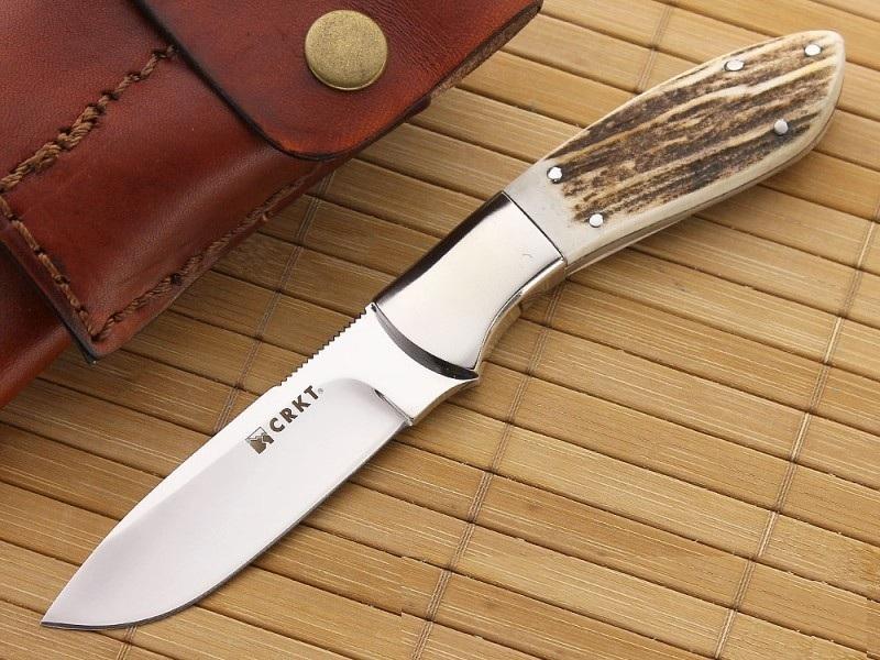 Фото 5 - Нож с фиксированным клинком CRKT Grandpa's Favorite, сталь 12C27 Sandvik, рукоять Резной олений рог