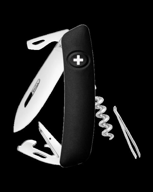 Швейцарский нож SWIZA D03 Standard, сталь 440, 95 мм, 11 функций, черный
