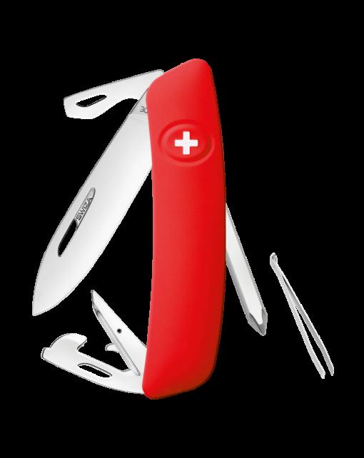 Швейцарский нож SWIZA D04 Standard, сталь 440, 95 мм, 11 функций, красный