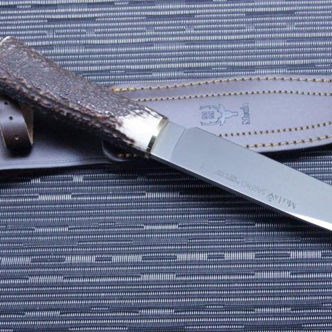Нож с фиксированным клинком Muela Sarrio, сталь X50CrMoV15, рукоять олений рог. Вид 4