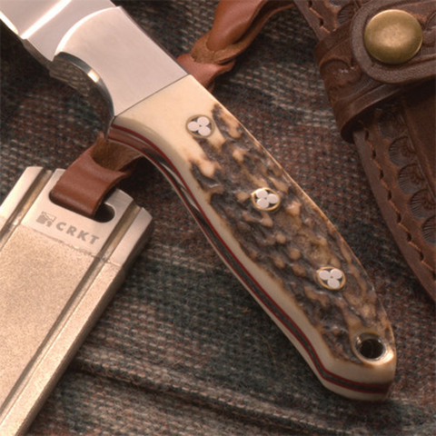 Нож с фиксированным клинком CRKT Brow Tine, сталь 9Cr18MoV, рукоять Резной олений рог. Вид 7