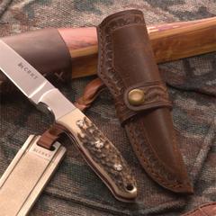 Нож с фиксированным клинком CRKT Brow Tine, сталь 9Cr18MoV, рукоять Резной олений рог, фото 6