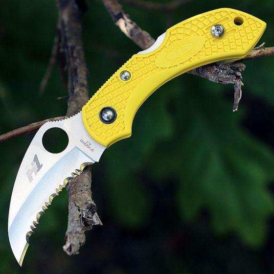 Фото 4 - Складной нож Dragonfly™ 2 Salt™ - Spyderco 28SYL2HB, сталь H-1 Satin Serrated, рукоять термопластик FRN, жёлтый