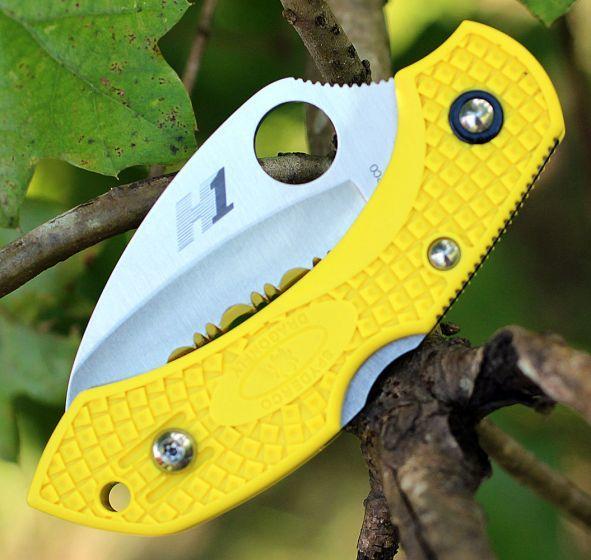 Фото 7 - Складной нож Dragonfly™ 2 Salt™ - Spyderco 28SYL2HB, сталь H-1 Satin Serrated, рукоять термопластик FRN, жёлтый
