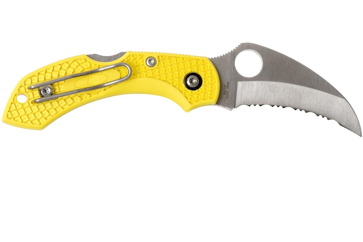 Фото 9 - Складной нож Dragonfly™ 2 Salt™ - Spyderco 28SYL2HB, сталь H-1 Satin Serrated, рукоять термопластик FRN, жёлтый