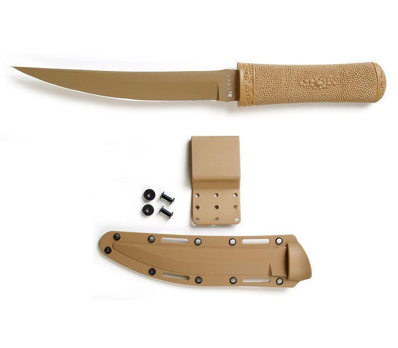 Фото 6 - Нож с фиксированным клинком CRKT Hissatsu (Desert Tan), сталь 440А, рукоять пластик/резина