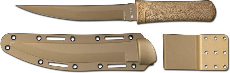Фото 7 - Нож с фиксированным клинком CRKT Hissatsu (Desert Tan), сталь 440А, рукоять пластик/резина