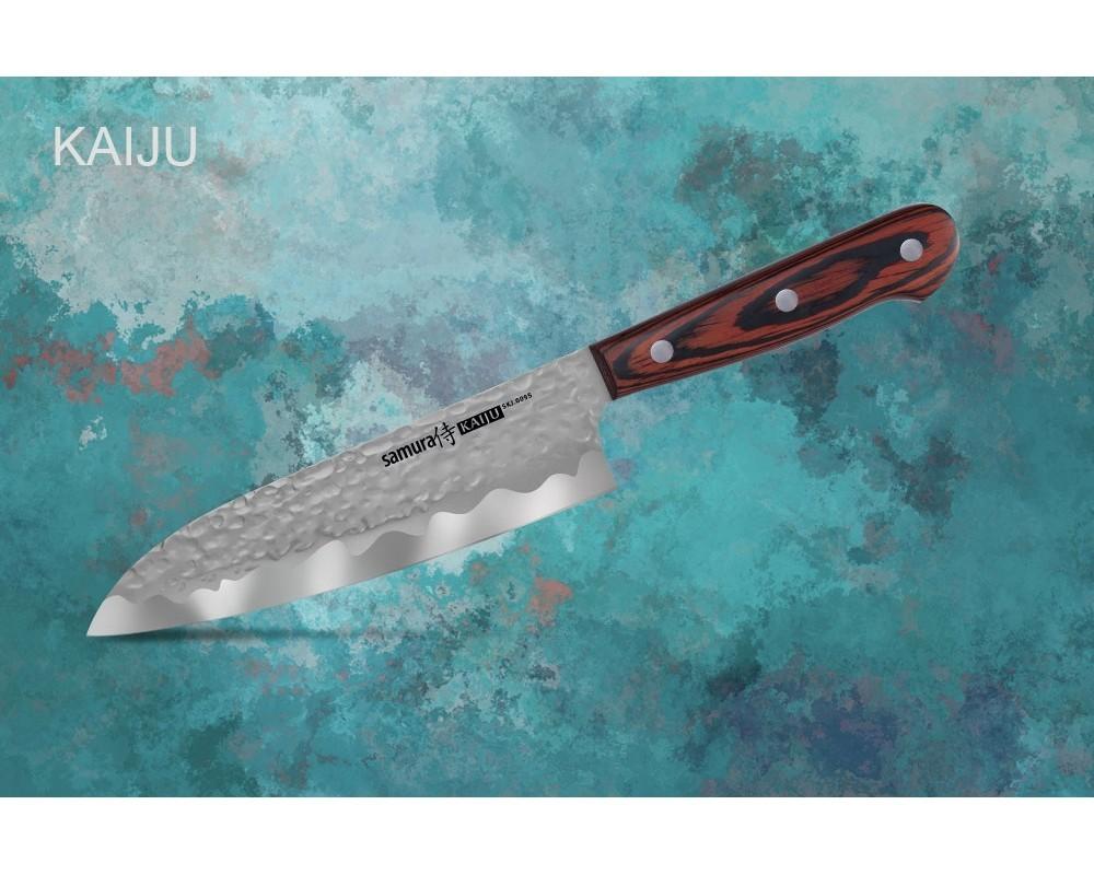 Фото 7 - Нож кухонный Samura KAIJU Сантоку - SKJ-0095, сталь AUS-8, рукоять дерево, 180 мм