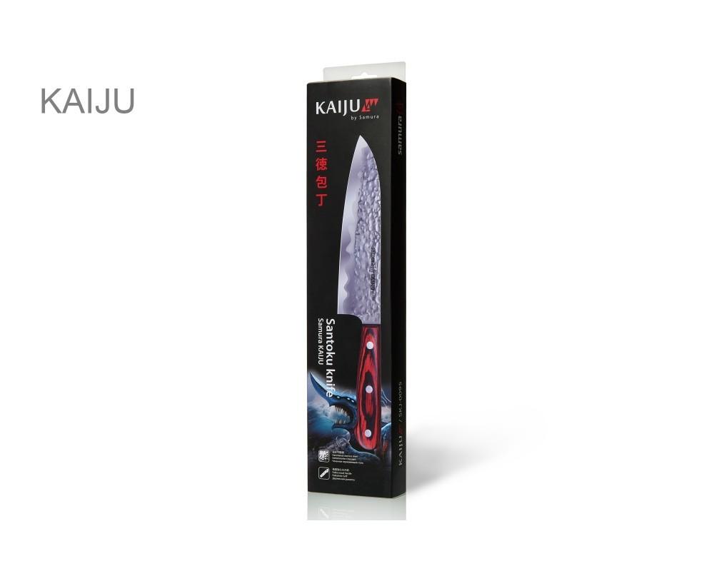 Фото 8 - Нож кухонный Samura KAIJU Сантоку - SKJ-0095, сталь AUS-8, рукоять дерево, 180 мм