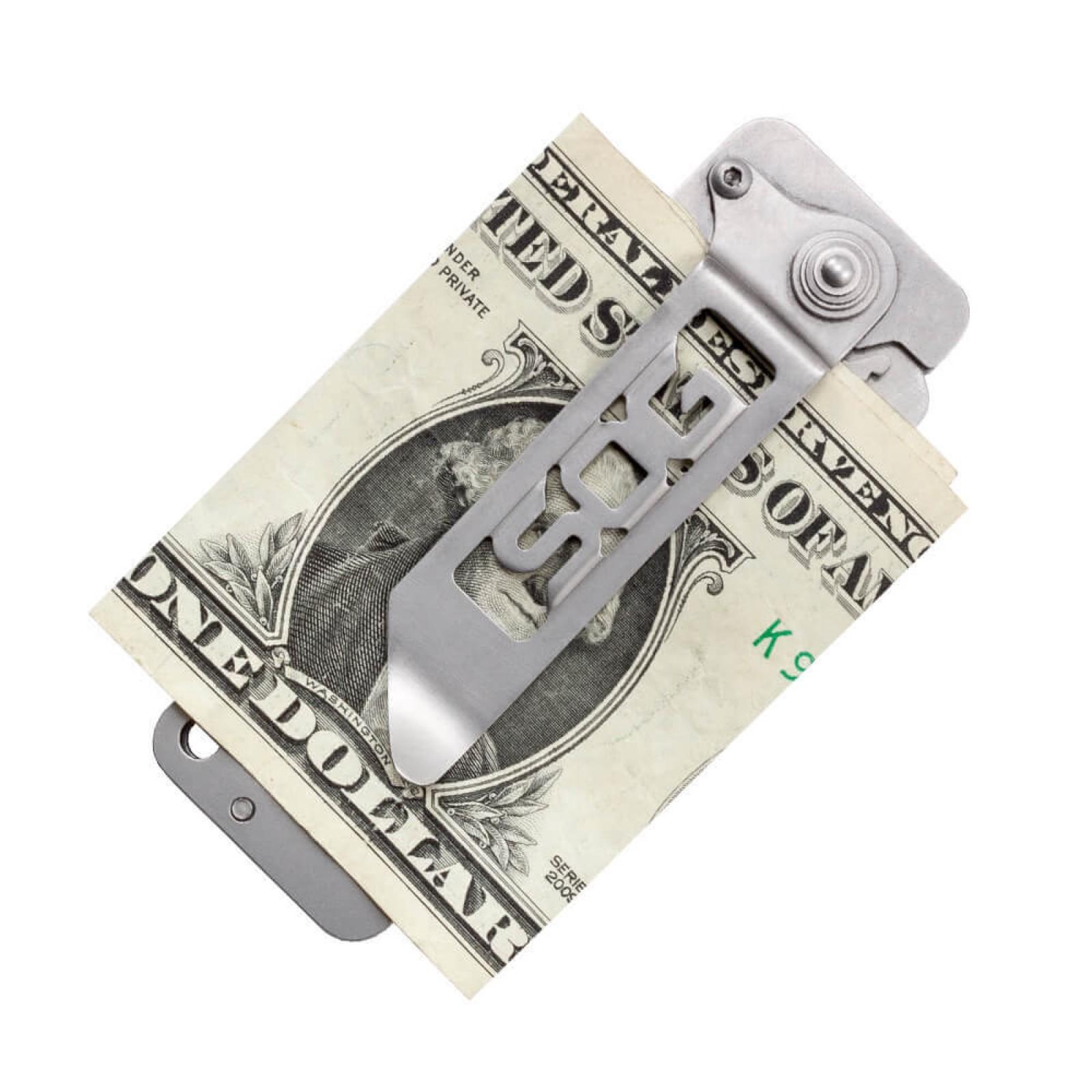 Фото 8 - Складной нож Cash Card Money Clip - SOG EZ1, сталь 8Cr13MoV, рукоять нержавеющая сталь, серебристый