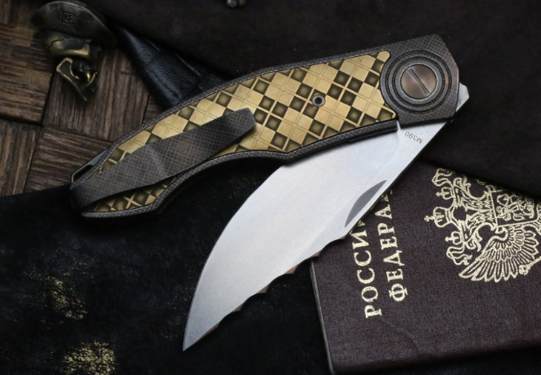Фото 5 - Складной нож CKF Makosha (Belka) KVAD, сталь M390, рукоять Titanium от Custom Knife Factory