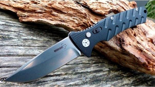 Фото 9 - Полуавтоматический складной нож Boker Plus Strike Spearpoint, сталь AUS-8 StoneWash Plain, рукоять анодированный алюминий, BK01BO400