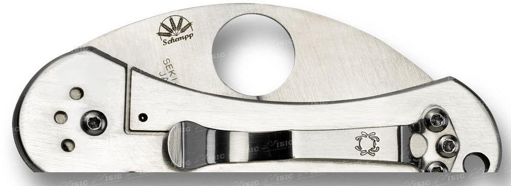 Фото 4 - Нож складной Equilibrium Spyderco 166P, сталь VG-10 Satin Plain, рукоять нержавеющая сталь
