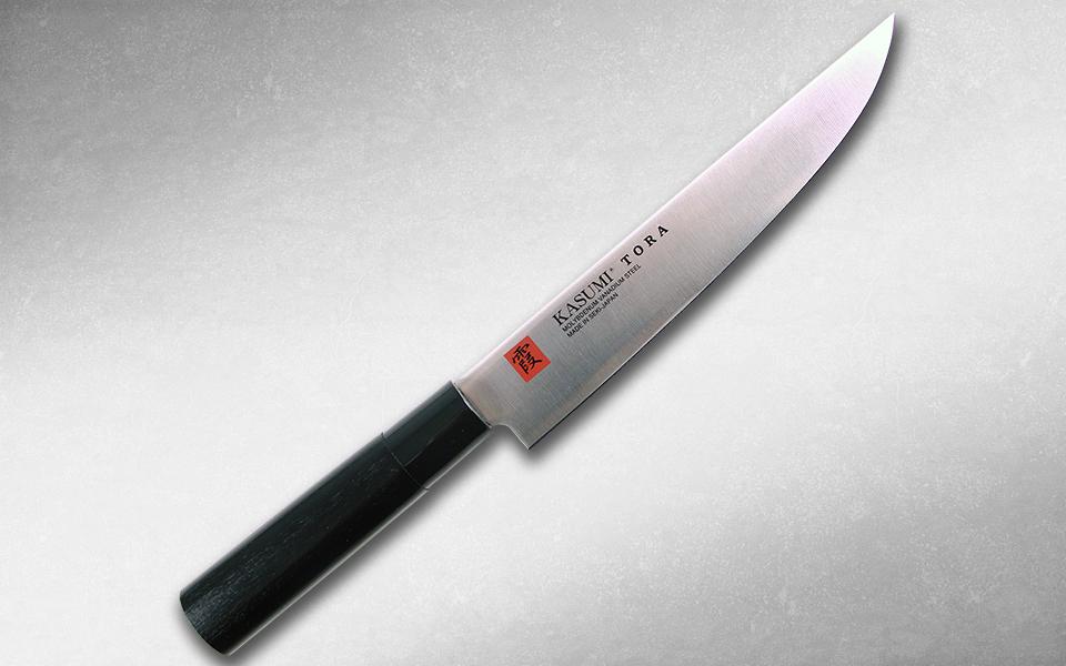 Нож кухонный Слайсер,Tora 200 мм, Kasumi, 36843, сталь AUS-6A, стабилизированная древесина, чёрный