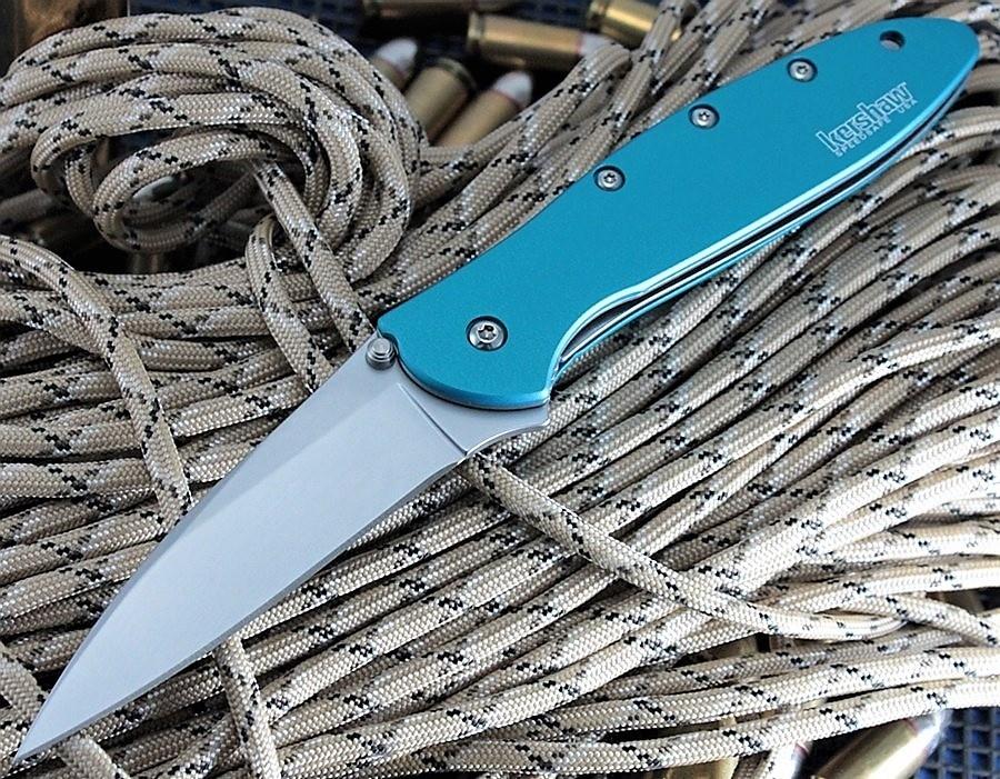 Фото 10 - Складной нож Leek - Kershaw 1660TEAL, сталь Sandvik™ 14C28N, рукоять анодированный алюминий бирюзового цвета