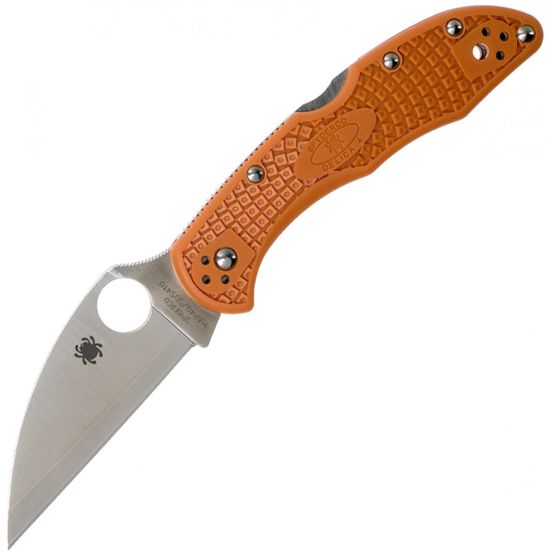 Фото 2 - Нож складной Delica 4 Lightweight Spyderco 11FPWCBORE, сталь HAP40/SUS410 Satin Plain Wharncliffe, рукоять термопластик FRN, оранжевый