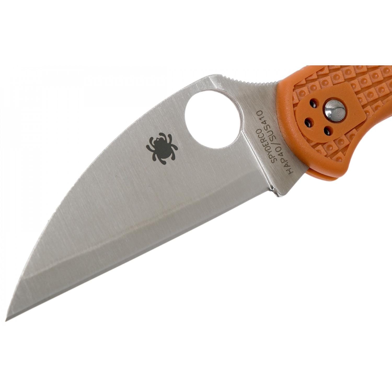 Фото 4 - Нож складной Delica 4 Lightweight Spyderco 11FPWCBORE, сталь HAP40/SUS410 Satin Plain Wharncliffe, рукоять термопластик FRN, оранжевый