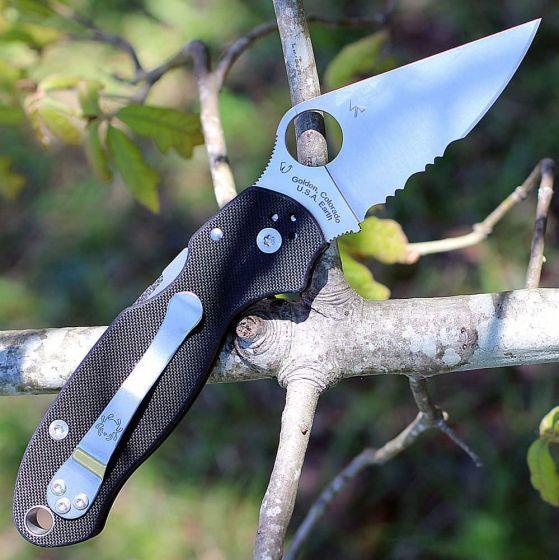 Фото 10 - Нож складной Para 3 - Spyderco 223GPS, сталь Crucible CPM® S30V™ Satin Combo, рукоять стеклотекстолит G10, чёрный